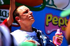 Joey Chestnut turning to Pepto-Bismol after winning Nathan's Hot Dog Eating Contest.