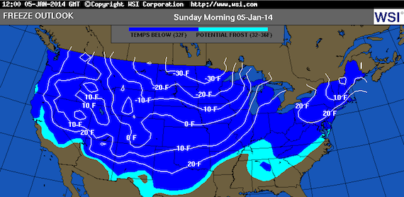 The weather will drop below freezing for most of the United States this weekend. (Via wsi.com)