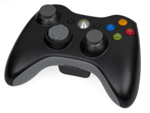 English: A black Microsoft Xbox 360 controller...