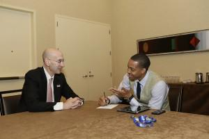 C.J. McCollum sits down for a chat with incoming NBA Commissioner Adam Silver on-site at the 2013 NBA Draft. (Photo courtesy of Excel Sports Management)