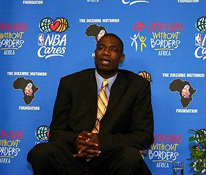 Dikembe Mutombo, speaking during a press brief...