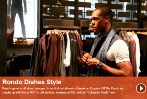 "Four-time NBA All-Star Rajon Rondo is the first featured NBA player on the new AMEX ""Off the Court""... [+] website."