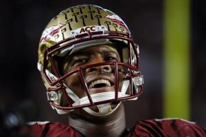 Florida State Seminoles quarterback Jameis Winston (5) smiles before the start of the game against the Miami Hurricanes at Doak Campbell Stadium. Mandatory Credit: Melina Vastola-USA TODAY Sports