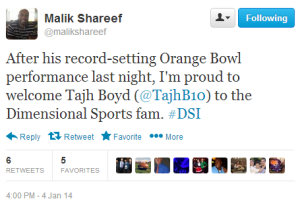 On Saturday afternoon, NFLPA Contract Advisor Malik Shareef announced the signing of Tajh Boyd.