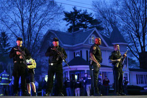 Police officers guard the entrance to Franklin street in Watertown, Mass. during the search for a... [+] suspect in the Boston Marathon bombings. (AP Photo/Matt Rourke)
