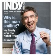 Not a Playboy Playmate. It's Dr. Robert J. Lefkowitz, Duke University Medical Center, 2012 Nobel laureate in chemistry. (Photo credit: D.L. Anderson/INDY Week)