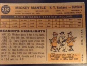 Cartoons on the back of this 1960 Mickey Mantle Topps card are more fun than stocks. (Topps Inc..)
