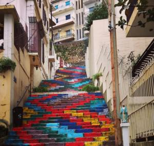 One of the Dizhayner's four sets of stair projects that began in 2012 in Mar Mikhael, Beirut. Photo: Alexandra Talty