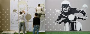 On the left, the artists Ziad Chakhtoura (left) and Rami Chahine (on ladder) spray the highlight white layer of the stencil, as their friend, Sevag Malkedjian, looks on. On the right is their finished product. Photos: Alexandra Talty