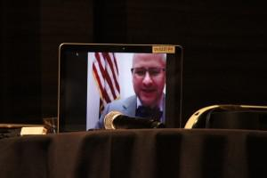 Congressman McHenry accepting award via Skype, photo by Devin Thorpe