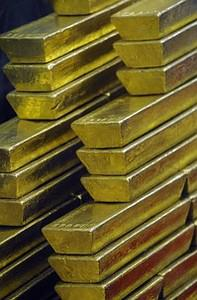 Gold bars are seen at the Czech Central Bank o...