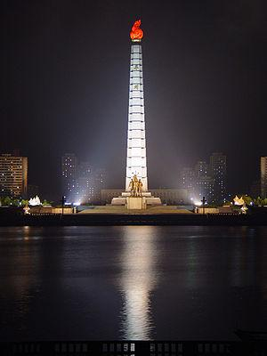 The Tower of Juche Idea statue in central Pyon...
