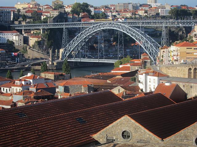 The bridge and city of Porto, viewed from a terrace