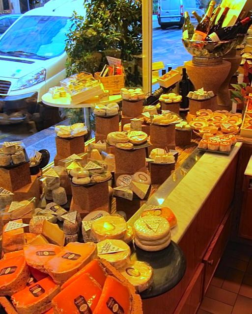 Mostly goat cheeses near the shop's window