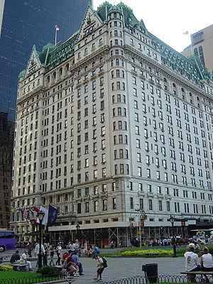 The Plaza Hotel, seen from corner of 5th Ave a...