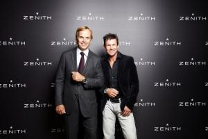 "Felix Baumgartner (left) with Zenith CEO Jean-Frédéric Dufour in Paris a few weeks ago at the ""Pilot... [+] Party"""