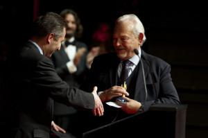 Aurel Bacs (left) presents Philippe Dufour with the Special Prize of the Jury