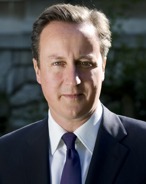 English: David Cameron's picture on the 10 Dow...