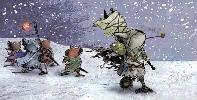 Mouse Guard mice on patrol, from David Petersen's excellent graphic novels and the RPG of the same... [+] name.