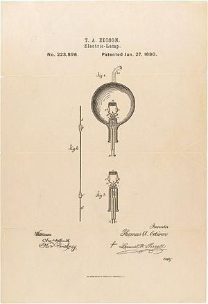 English: T.A. Edison patent on the light bulb....