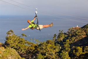 Zip lining, photo courtesy Santa Catalina Island Company