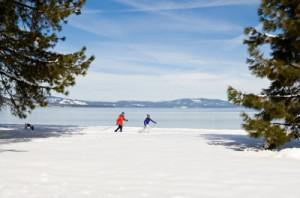 Cross country skiing around Lake Tahoe, photo courtesy Camp Richardson Resort