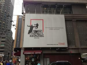 """Overeducated, underemployed, wildly optimistic. Millennials"" Time Magazine Billboard on 51st & Broadway, NY, NY"