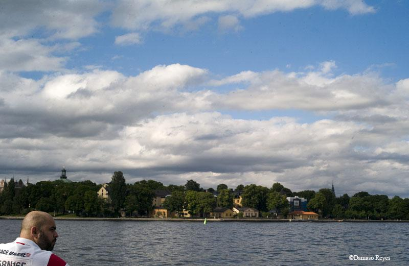 Riding the ferry in Stockholm.