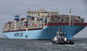 The world's biggest container ship, named the ...