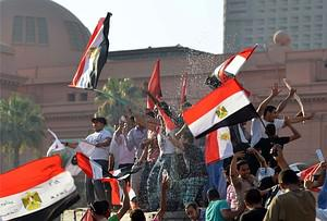 Egyptians celebrate at Cairo's Tahrir Square t...