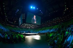 Howard Schultz on stage at Starbucks' 2012 Global Leadership Conference in Houston.
