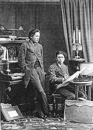 English: A. P. Chekhov (left) with his brother...
