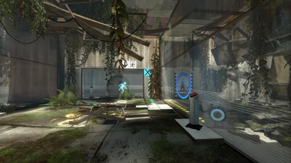 Valve's Portal 2 running with near-maxed graphical settings on Surface Pro