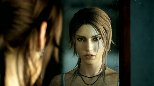 This screenshot of Tomb Raider was captured directly from a SHIELD playing via PC streaming