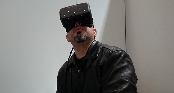 Yours truly getting lost in the virtual reality of the latest Oculus Rift prototype | Photo: Joe Chen
