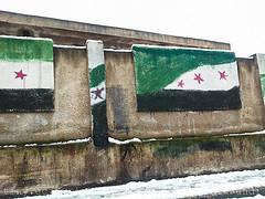 Syria Independence Flag Painted on Gov. School...