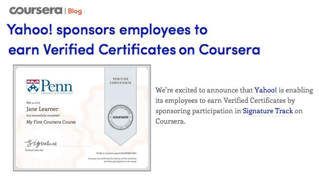 Yahoo Sponsors Employees to Earn Verified Certificates on Coursera