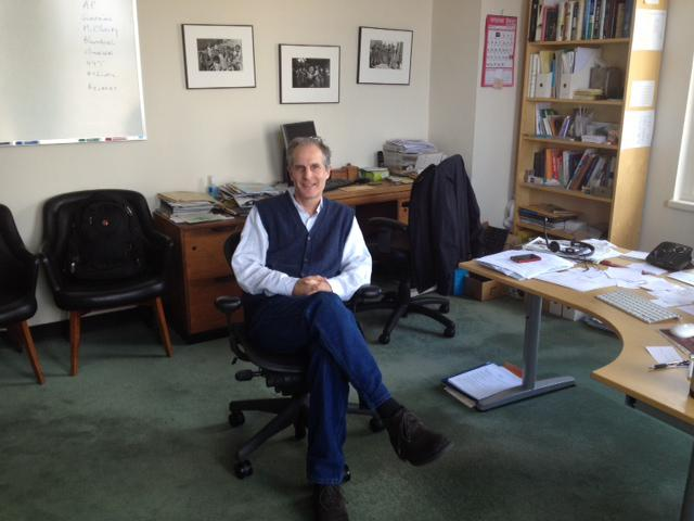 David Sassoon in the InsideClimate News newsroom, a/k/a his office.