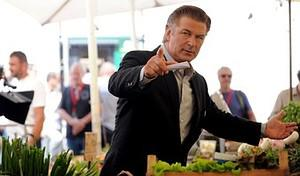 US actor Alec Baldwin (L) gestures while on th...