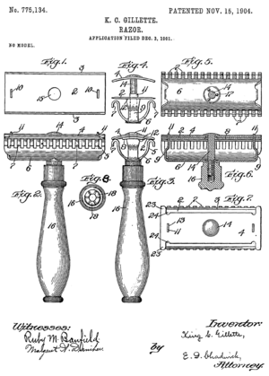 Front page of Gillette's razor patent.