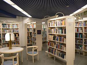 Shelves of the Main Library of Tampere, Finland.