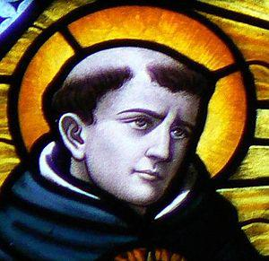 Thomas Aquinas depicted in stained glass