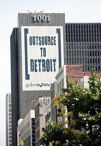 DETROIT, MI - JULY 18:  A banner on a building...