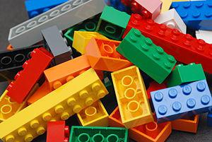 A pile of Lego blocks, of assorted colours and...