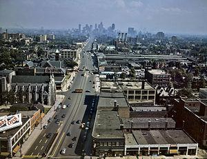 Looking south down Woodward Avenue (then US 10...