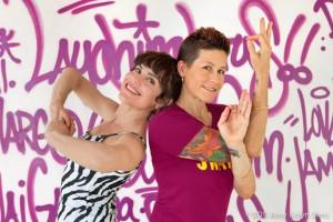 Laughing Lotus co-founders and Lotus Flow co-creators Jasmine Tarkeshi (left) and Dana Flynn (right) in one of Laughing Lotus yoga rooms.