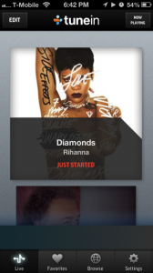 TuneIn's mobile app interface.