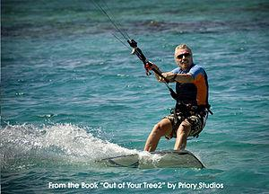 English: Sir Richard Branson kite surfing at N...