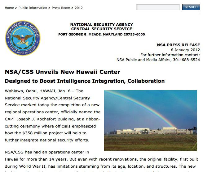 This may be the NSA office in Hawaii from which Edward Snowden worked. Seriously. (screenshot of NSA press release on center's opening)