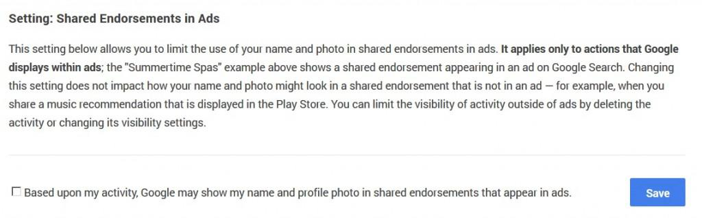 If you don't want Google selling your endorsement, this is your opt out.